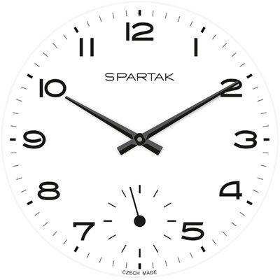 Skleněné nástěnné hodiny SPARTAK