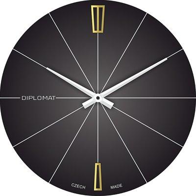 Skleněné nástěnné hodiny DIPLOMAT černé