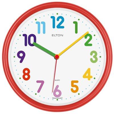 ELTON dětské plastové nástěnné hodiny - červené - 163370