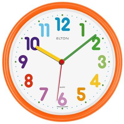 ELTON dětské plastové nástěnné hodiny - oranžové - 163374