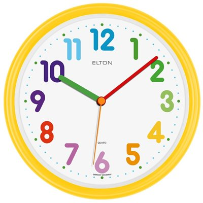 ELTON dětské plastové nástěnné hodiny - žluté - 163372