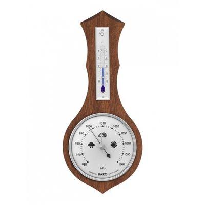 Dřevěný pokojový BAROMETR-TEPLOMĚR v atypickém provedení dřevo a kov vhodný do domácnosti - 8037B