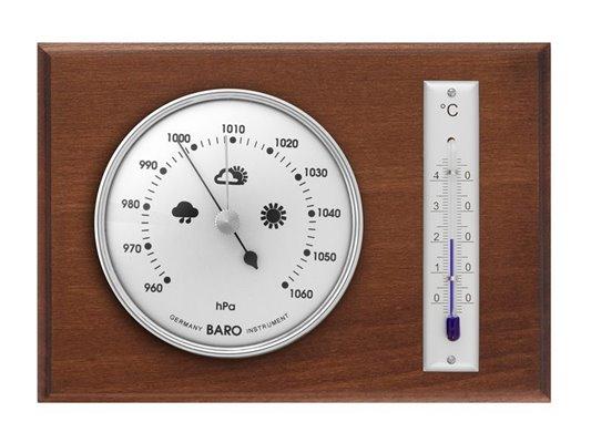 Dřevěný retro BAROMETR stříbrný s klasickým bezrtuťovým teploměrem pro měření hodnot v interiéru - 8009B
