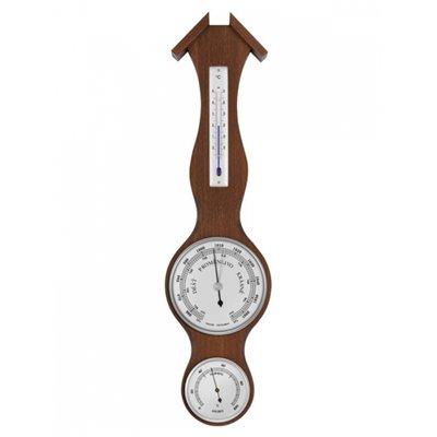 Retro pokojový mechanický barometr ze dřeva doplněný analogovým vlhkoměrem a lihovým teploměrem - 8003B