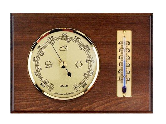 Hranatý závěsný BAROMETR s TEPLOMĚRem do vnitřních prostor, dřevěná podložka, zlatý kov - 8009