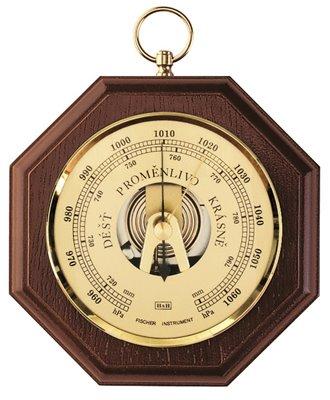 Kvalitní dřevěný analogový BAROMETR - přístroj pro měření atmosférického tlaku vzduchu pro jednoduchou předpověď počasí - 8002