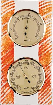 Závěsný skleněný BAROMETR-VLHKOMĚR s funkcí analogového ukazatele předpovědi počasí a stanovení vlhkosti - 8079
