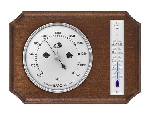 Rustikální BAROMETR k zavěšení doplněný o kapalinový TEPLOMĚR, v provedení přírodní dřevo, stříbrné orámování - 8014B