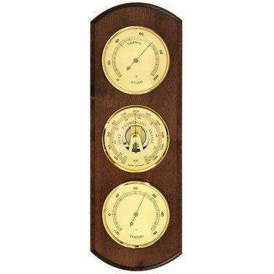 Kovový analogový BAROMETR, VLHKOMĚR a TEPLOMĚR; materiál tmavé dřevo, k zavěšení do místnosti - 8040A